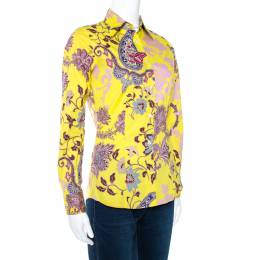 Etro Yellow Floral Paisley Print Stretch Cotton Shirt S 270761