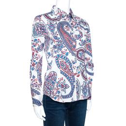 Etro White Floral Paisley Print Stretch Cotton Shirt S 270767