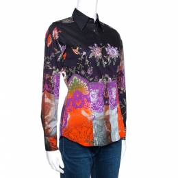 Etro Multicolor Abstract Floral Print Stretch Cotton Shirt S 270765