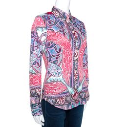 Etro Red Bohemian Paisley Print Stretch Cotton Shirt S 270795