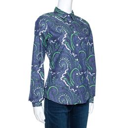 Etro Blue Paisley Print Stretch Cotton Chambray Shirt S 270793