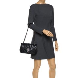 Saint Laurent Black Mix Matelasse Leather Medium Envelope Shoulder Bag
