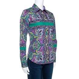 Etro Purple & Green Paisley Print Stretch Cotton Shirt S 270772