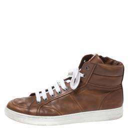 Prada Sport Brown Leather High Top Lace Up Sneakers Size 43 271007