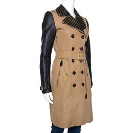 Burberry Brit Bicolor Cotton Leather Trim Studded Coat XS 270233