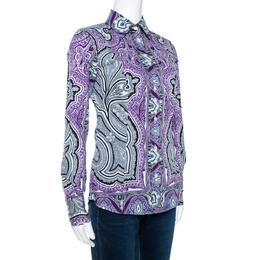 Etro Purple & Black Paisley Print Stretch Cotton Shirt S 270798