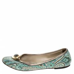Etro Green Paisley Printed Coated Canvas Embellished Ballet Flats Size 40 271055