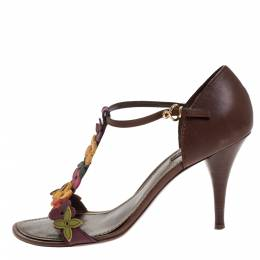 Louis Vuitton Brown Leather Aubepine Floral T-Strap Sandals Size 39.5 271001