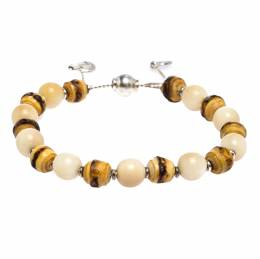Gucci Bamboo Wooden Beads Silver Adjustable Bracelet 270648