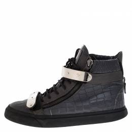 Giuseppe Zanotti Design Grey Croc Embossed Leather High Top Lace Up Sneakers Size 44
