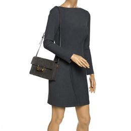 Saint Laurent Grey Nubuck and Leather Medium Lulu Shoulder Bag