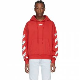Off-White Red Airport Tape Hoodie OMBB037S20E300032088