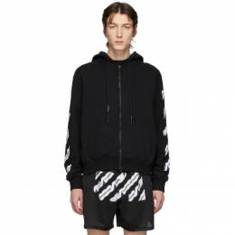 Off-White Black Airport Tape Zip hoodie OMBE001S20E300031088
