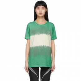 Off-White Green and White Tie-Dye Skinny Arrows T-Shirt OMAA036S201850254401