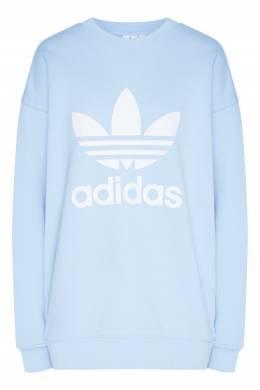Голубой свитшот с белым логотипом Adidas 819186514