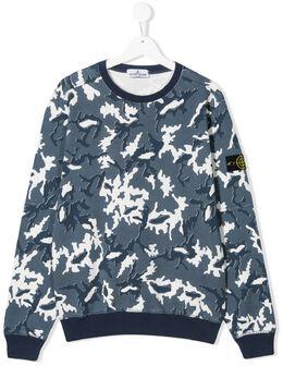 Stone Island Junior свитер с круглым вырезом и камуфляжным узором MO721663243