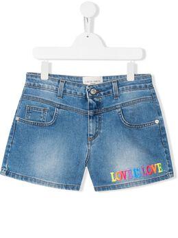 Alberta Ferretti Kids джинсовые шорты с надписью 022163