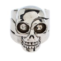 Alexander McQueen Silver Tone Divided Skull Ring Size EU 61 270630