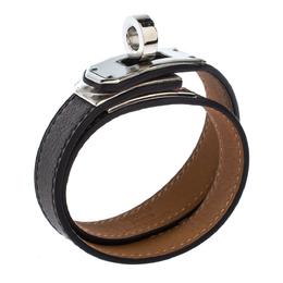 Hermes Kelly Double Tour Brown Leather Palladium Plated Wrap Bracelet XS 271154