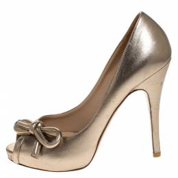 Valentino Metallic Gold Leather Bow Peep Toe Platform Pumps Size 38