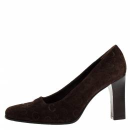 Celine Brown Suede Leather Block Heel Pumps Size 36.5