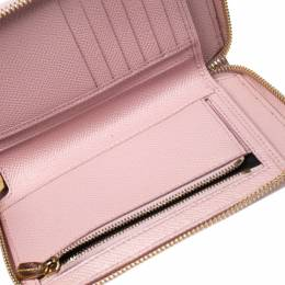 Dolce&Gabbana Pink Lizard Embossed Leather Zip Around Wallet