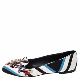 Dolce&Gabbana Multicolor Chevron Printed Fabric Crystal Embellished Pointed Toe Ballet Flats Size 36.5 271012