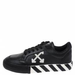 Off-White Black/White Leather Vulcanized Low Top Sneakers Size 37