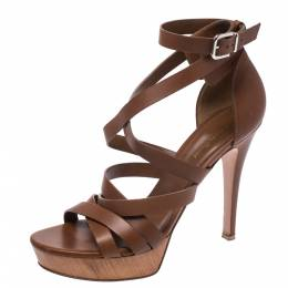 Gianvito Rossi Brown Leather Strappy Platform Ankle Strap Sandals Size 41 271046