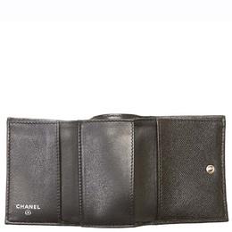 Chanel Black Leather Tri-fold Boy Small Wallet