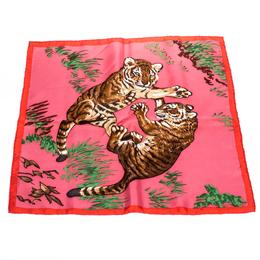 Hermes Taffy Pink Silk Twiil Les Tigreaux Scarf 271279