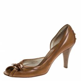 Tod's Tan Leather D'orsay Peep Toe Pumps Size 38.5 Tod's 271201