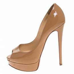 Christian Louboutin Beige Patent Leather Lady Peep Toe Platform Pumps Size 37 271217