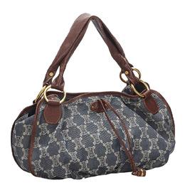 Celine Blue/Brown Denim Shoulder Bag 267346