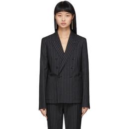 Saint Laurent Black and Silver Lurex Pinstripes Blazer 611054 Y1A90