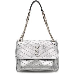 Saint Laurent Silver Medium Niki Bag 575055 1Q302