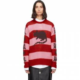 Marc Jacobs Pink and Red Stray Rats Edition Mohair Sweater P1000024-601