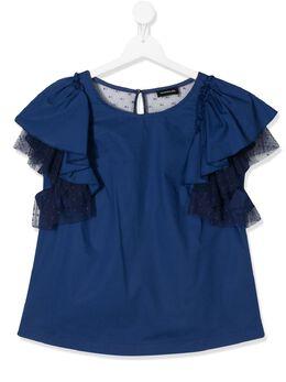 Monnalisa футболка с оборками на рукавах 4156115117