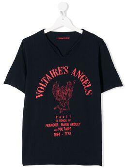 Zadig & Voltaire Kids футболка с круглым вырезом и графичным принтом SITC1814E