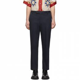 Gucci Navy Whipcord Cover Trousers 598647 ZABK2