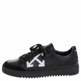 Off-White Black Leather Polo Low Top Sneakers Size 39 272147