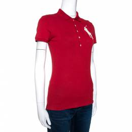 Ralph Lauren Brick Red Cotton Pique Bead Embroidered Logo Polo T-Shirt S 271393