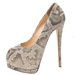 Giuseppe Zanotti Design Mint Green/Black Python Effect Leather Peep Toe Platform Pumps Size 39.5 271943