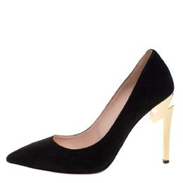 Giuseppe Zanotti Design Black Leather Bolt G Pointed Toe Pumps Size 38.5 271761