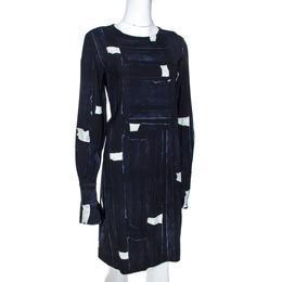 Max Mara Navy Blue Abstract Printed Crepe Shift Dress M 271368