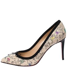 Christian Louboutin Multicolor Printed Satin Solasofia Pointed Toe Pumps Size 38.5 271636