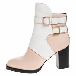 Tod's White/Peach Leather Buckle Ankle Boots Size 38.5 Tod's