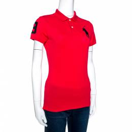 Ralph Lauren Red Cotton Pique Logo Embroidered Polo T-Shirt M 271435