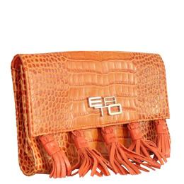 Etro Orange Embossed Leather Clutch 230231