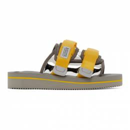 Suicoke Yellow and Silver Moto-VEU3 Sandals OG-056VEU3